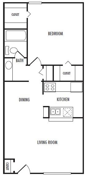 720 sq. ft. E floor plan