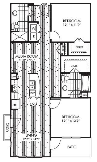1,158 sq. ft. B3A floor plan