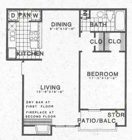 731 sq. ft. A3 floor plan