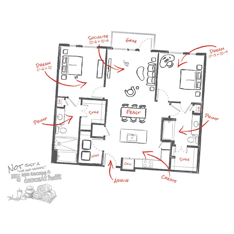 1,112 sq. ft. to 1,154 sq. ft. B1 floor plan