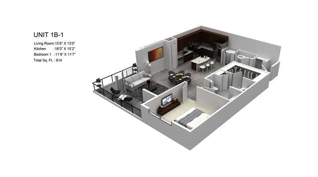 814 sq. ft. Lantana/1B-1 floor plan