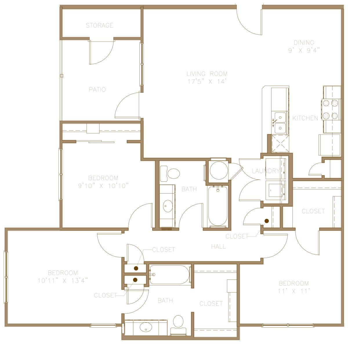 1,231 sq. ft. 60% floor plan