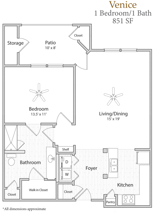 851 sq. ft. Venice floor plan