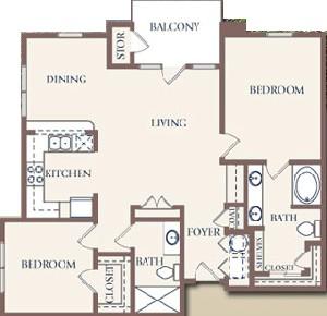 1,187 sq. ft. floor plan