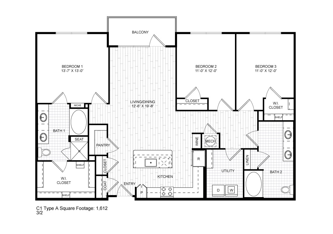 1,612 sq. ft. C1 floor plan