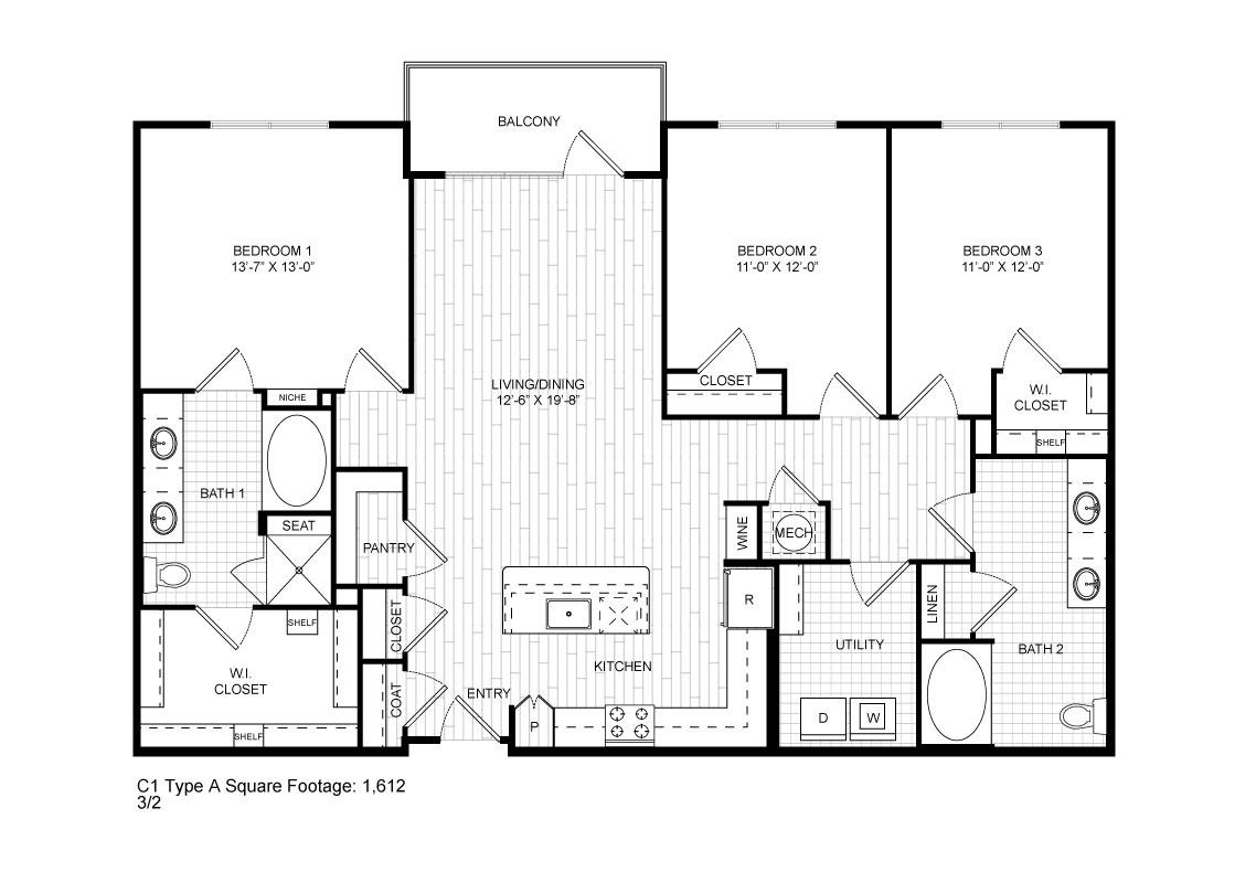 1,550 sq. ft. C1A floor plan