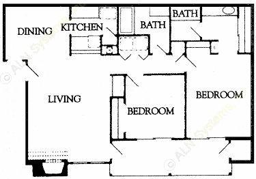 1,036 sq. ft. floor plan