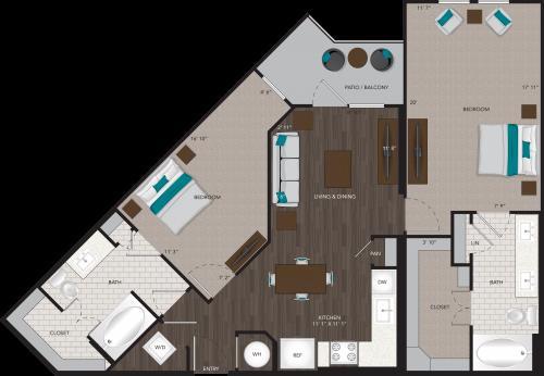 1,213 sq. ft. B8 floor plan