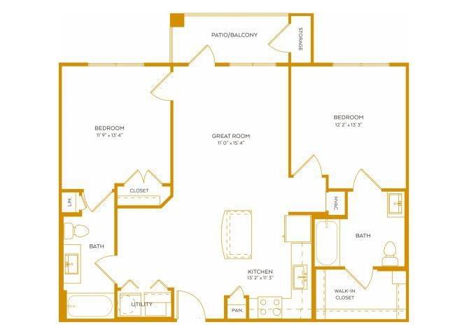 1,012 sq. ft. B1A floor plan