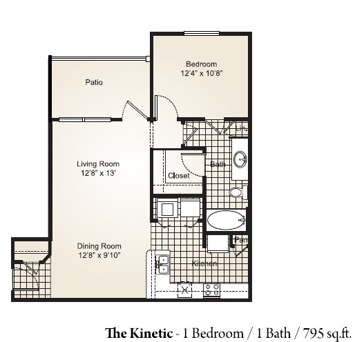 795 sq. ft. KINETIC floor plan