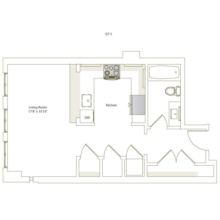483 sq. ft. S7-1 floor plan