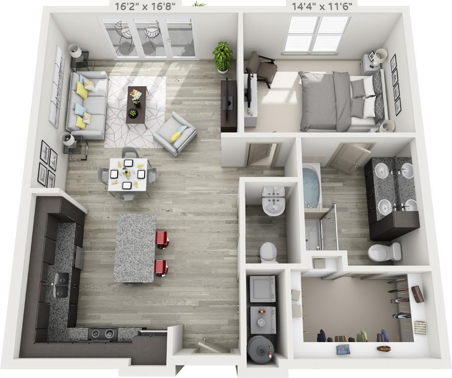 960 sq. ft. A3 floor plan