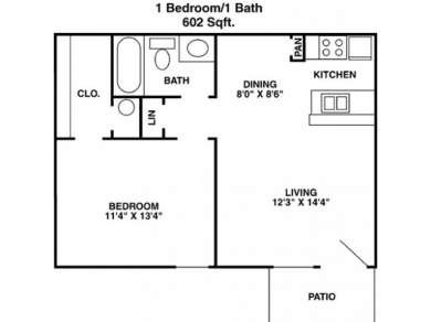 602 sq. ft. A2 floor plan