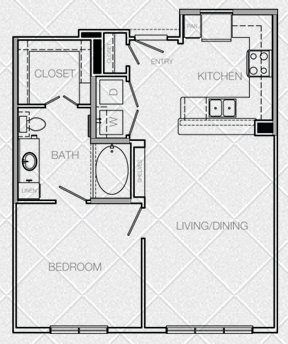 699 sq. ft. A floor plan