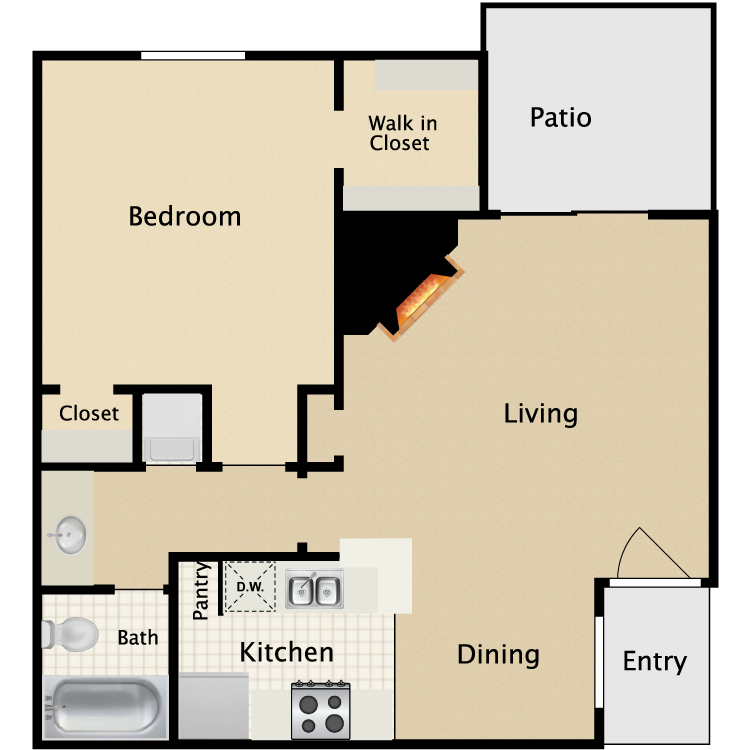 622 sq. ft. A1/A2 floor plan