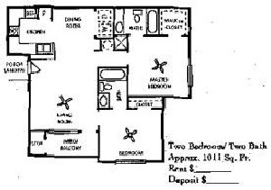 1,011 sq. ft. 60% floor plan