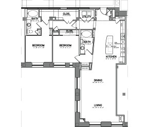 1,586 sq. ft. Unit 14 floor plan