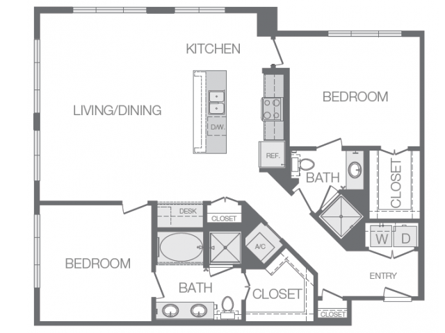 1,332 sq. ft. O floor plan