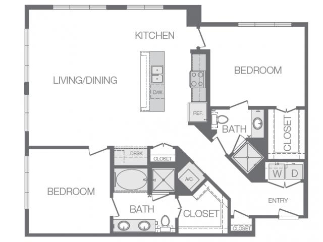 1,332 sq. ft. O floor plan