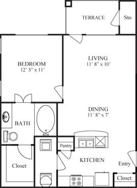 642 sq. ft. CORTEZ floor plan