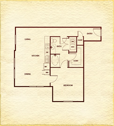 803 sq. ft. A400 floor plan