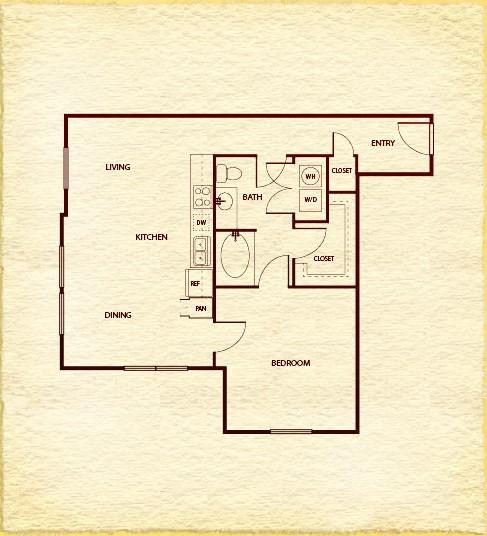 803 sq. ft. A4 floor plan
