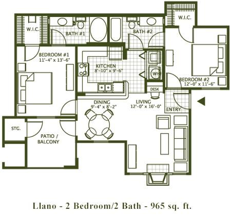 965 sq. ft. LLANO floor plan