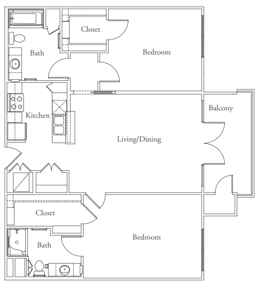 1,129 sq. ft. to 1,279 sq. ft. Westlake floor plan