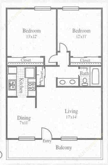 871 sq. ft. 2/1 floor plan