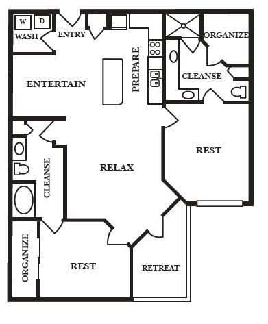 1,202 sq. ft. D1 floor plan