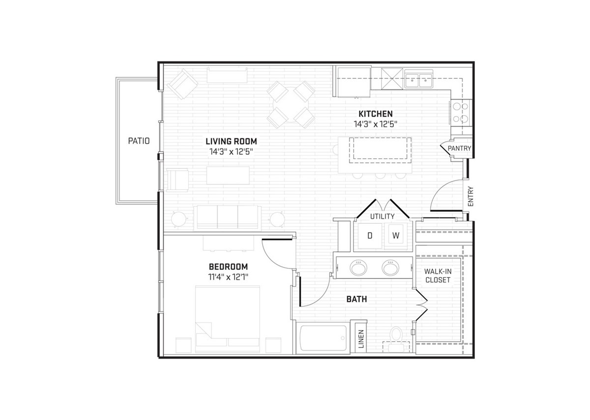 840 sq. ft. A7 floor plan