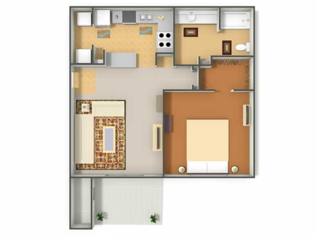 683 sq. ft. Hummingbird floor plan