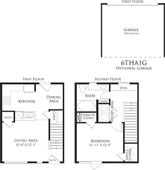 773 sq. ft. 6THA1 floor plan