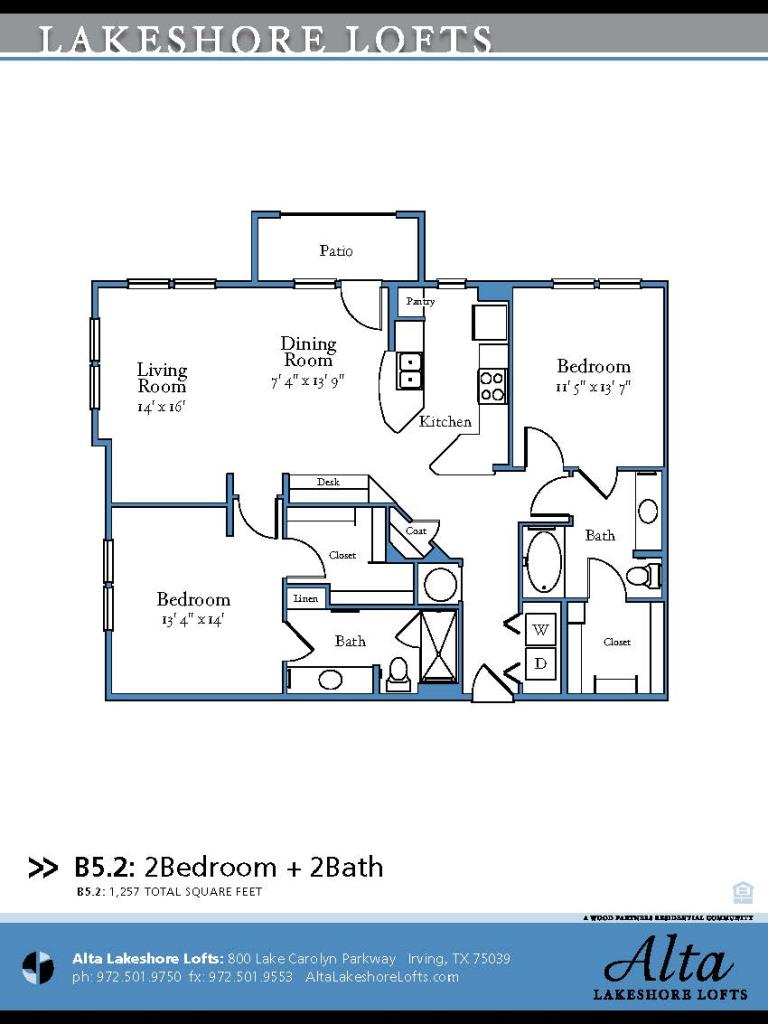 1,257 sq. ft. B5.2 floor plan