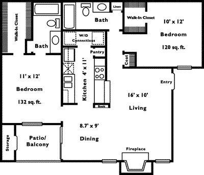 960 sq. ft. 2C floor plan
