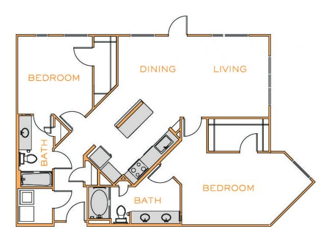 1,319 sq. ft. F3 floor plan