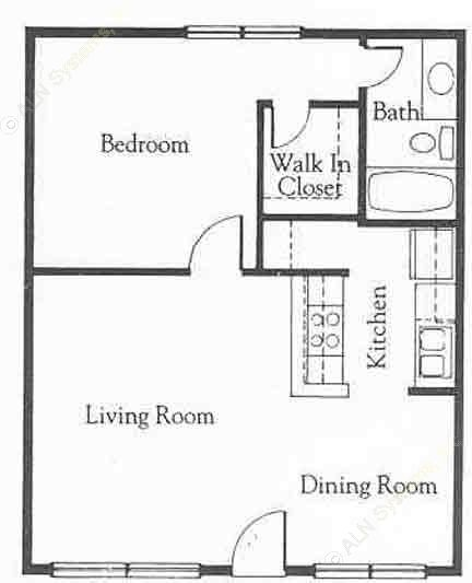 636 sq. ft. A3 floor plan