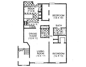 1,230 sq. ft. D floor plan