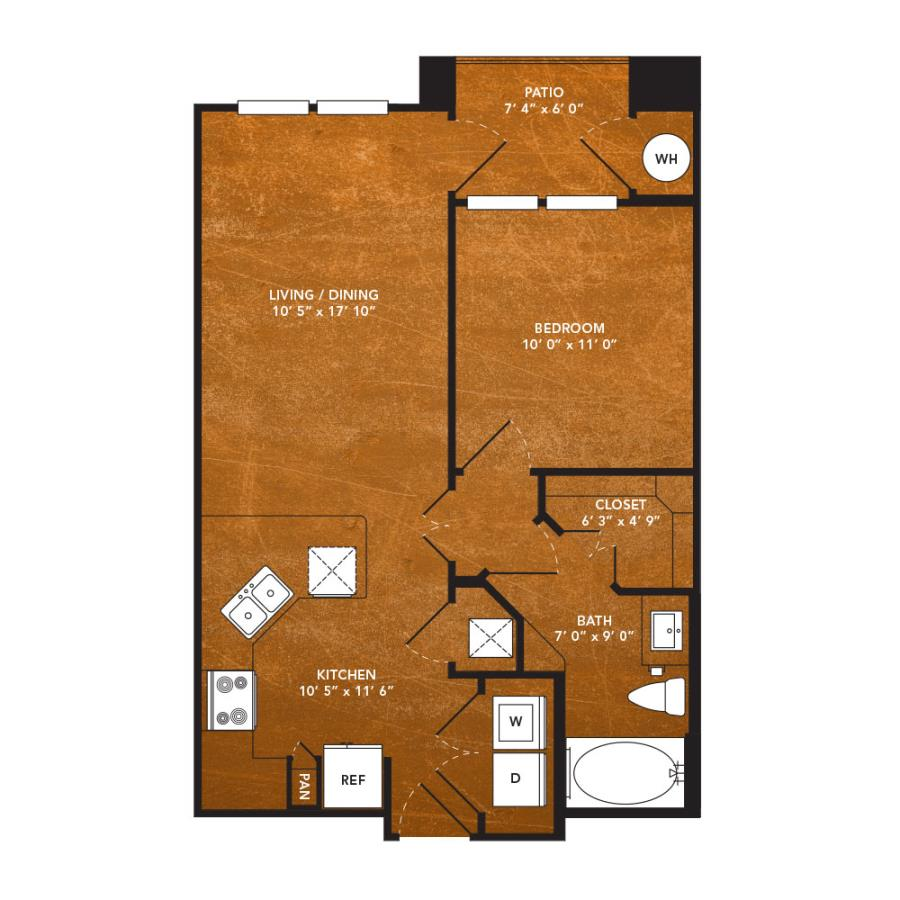 606 sq. ft. A3B floor plan
