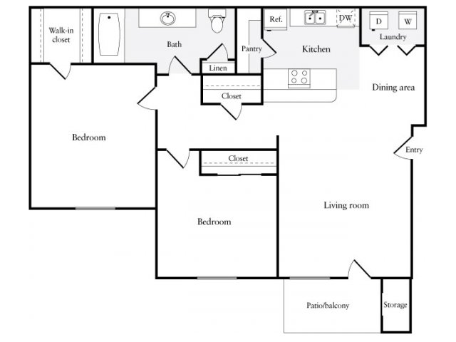 818 sq. ft. floor plan
