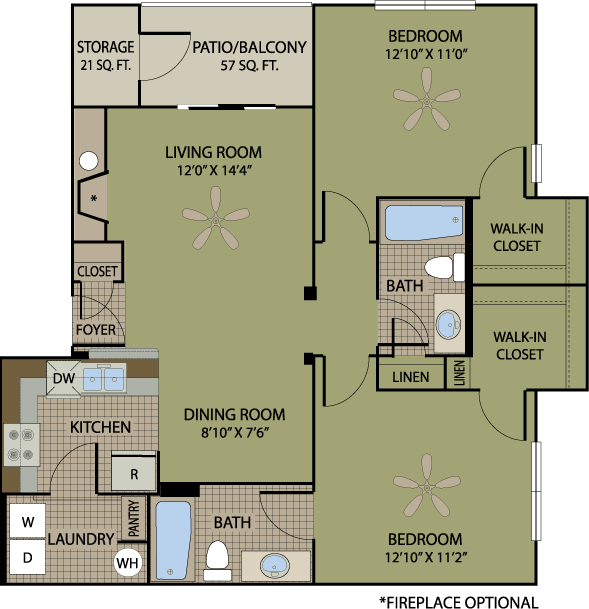 954 sq. ft. Chardonnay floor plan