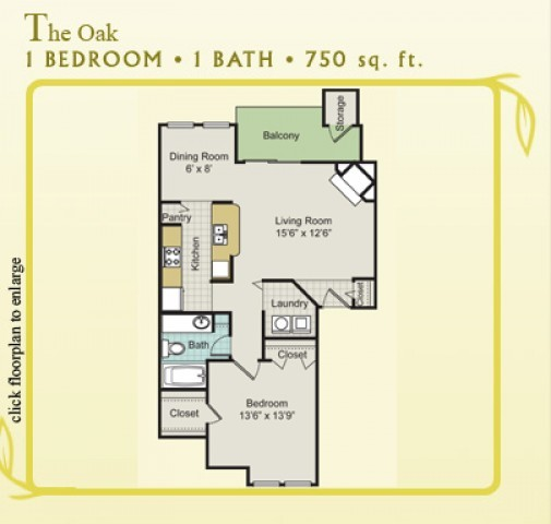 750 sq. ft. Oak floor plan