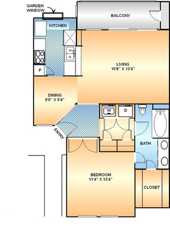 771 sq. ft. A-3 floor plan