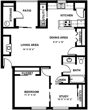 780 sq. ft. H floor plan