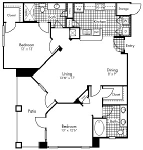 1,195 sq. ft. B3 floor plan