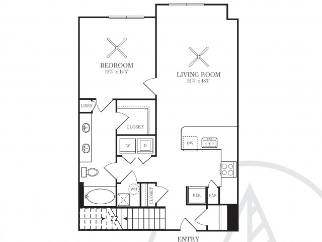 887 sq. ft. A5C floor plan