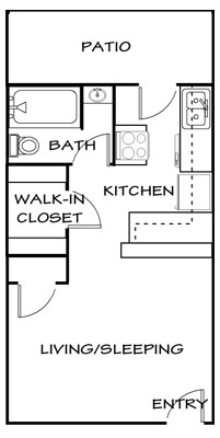 434 sq. ft. E1 floor plan