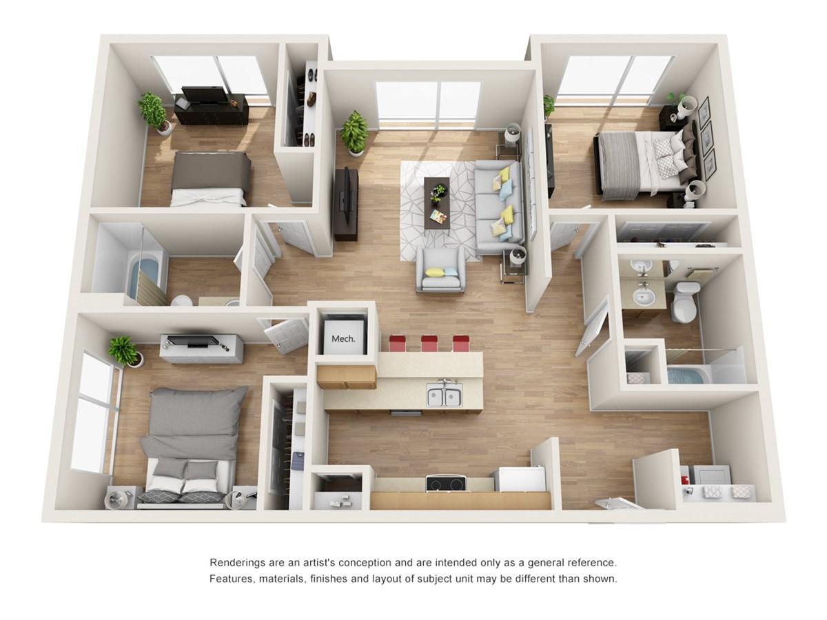 1,208 sq. ft. C3 floor plan