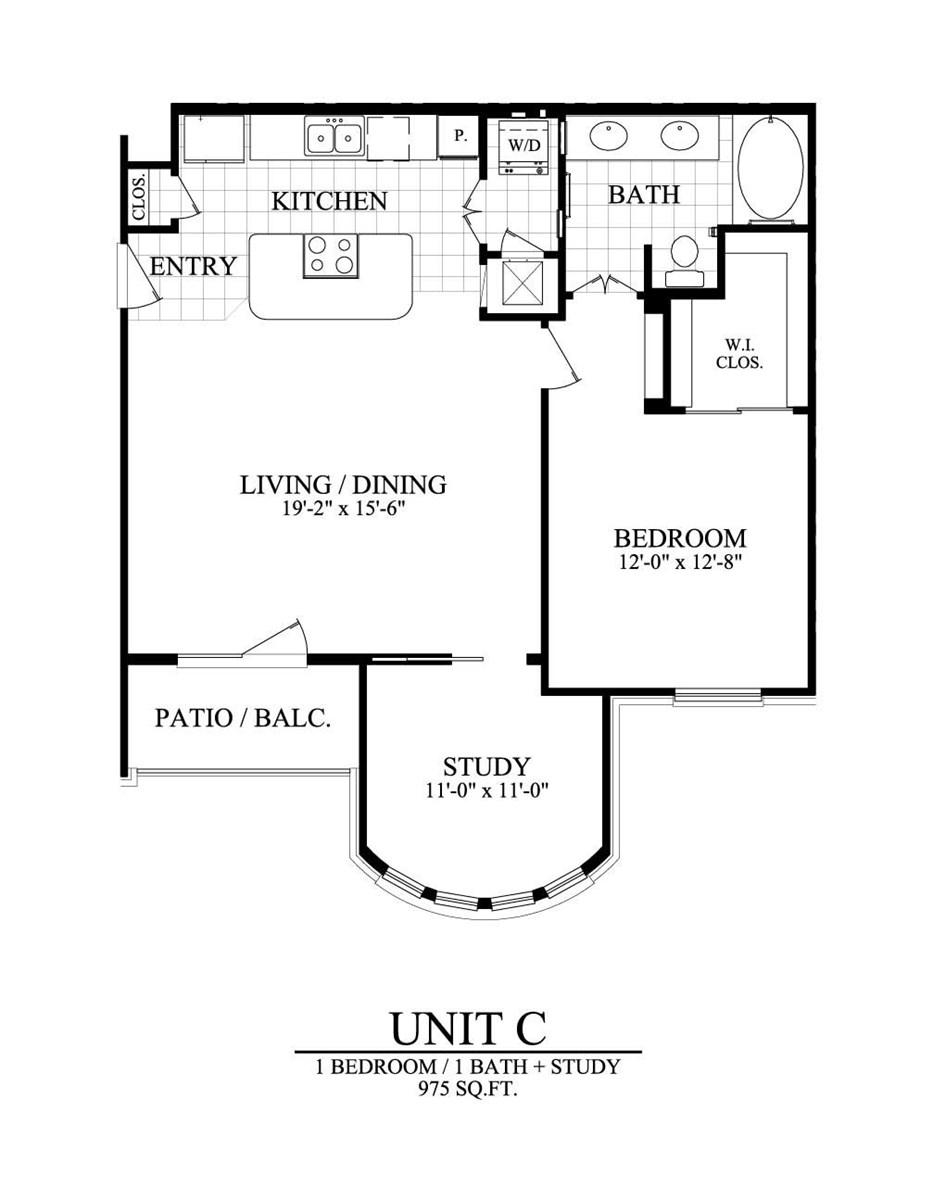 975 sq. ft. C floor plan