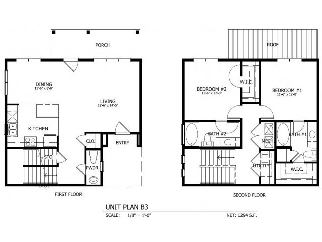 1,279 sq. ft. THB.3 floor plan